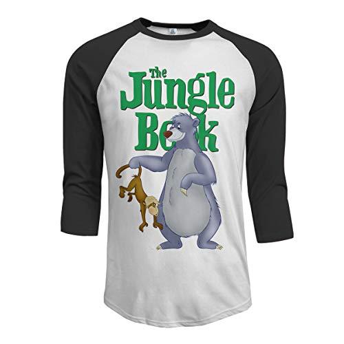 JeremiahR The Jungle Book Bear Baloo Men's 3/4 Sleeve Raglan Baseball Tee Black -