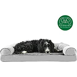 Furhaven Pet Dog Bed | Orthopedic Ultra Plush Faux Fur & Suede Sofa-Style Living Room Couch Pet Bed for Dogs & Cats, Gray, Large