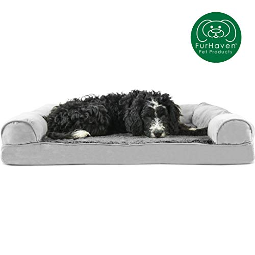 Furhaven Pet Dog Bed | Orthopedic Ultra Plush Faux Fur & Suede Sofa-Style Living Room Couch Pet Bed for Dogs & Cats, Gray, Large (Bed Orthopedic Pet Double)