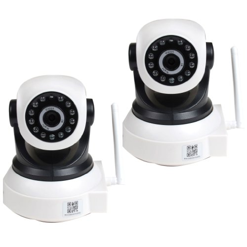 VideoSecu 2 x IP Baby Monitor Cameras Wireless Wi-Fi Pan Tilt Easy Setup Remote View Video Day Night Security Cameras Network IR Infrared for iPhone, iPad, Android Phone, PC and Smartphone WP8