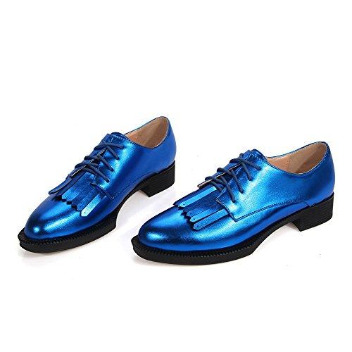 Amoonyfashion Damesschoenen Effen Lage Hakken Vetersluiting Met Puntige Puntige Pumps-schoenen Blauw