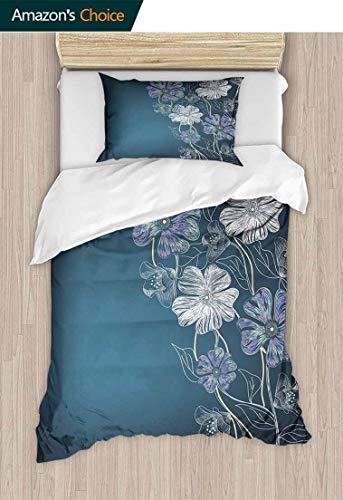 - Art Kids Quilt 2 Piece Bedding Set, Hand Drawn Cherry Blossoms Fantasy Bridal Garden Anniversary Theme, Bedding Sets,1 Duvet Cover,1 Pillowcase,47 W x 59 L Inches, Petrol Blue Lavander White