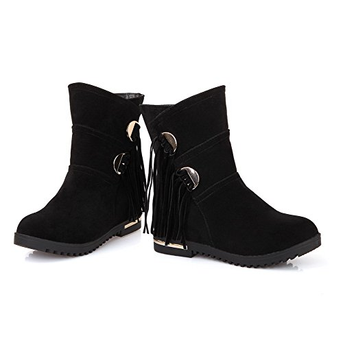 Toe Low Boots Kitten Pull Allhqfashion Round Heels top Closed on Black Frosted Women's zPwzfqYB