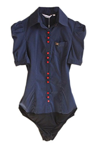 (Soojun Women Short Sleeve Button Down Career Shirt Bodysuit Blouse, (US 6, 4-Navy))