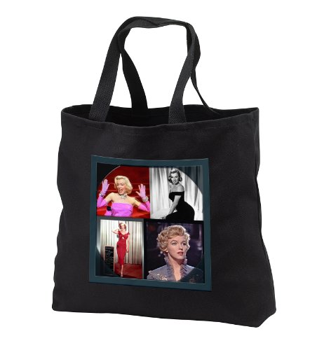 FabPeople - Arts and Entertainment - Marilyn Monroe Collage - Tote Bags - Black Tote Bag JUMBO 20w x 15h x 5d (tb_107180_3) ()