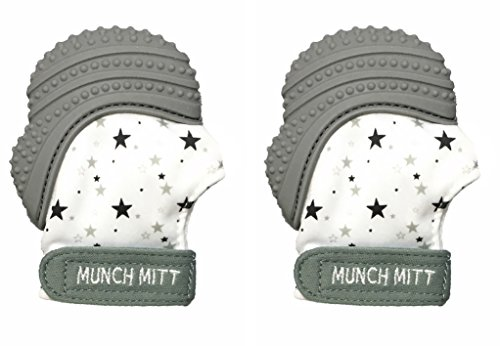 Munch Mitt Pastels Specialty Collection- Original Silicone Teether Mitten- Like Teething Toys or Teething Ring Provides Self-Soothing Fun- Ideal Baby Shower Gift with Handy Travel Bag- Grey Stars 2 pk from Munch Mitt