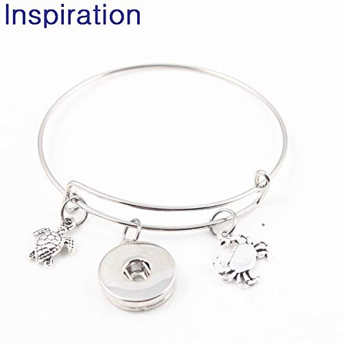 Interchangeable 18mm Snap Button Jewelry | Ocean Turtle Mermaid Conch Starfish Seahorse Crab Adjustable Bangle & Bracelet (10pcs)