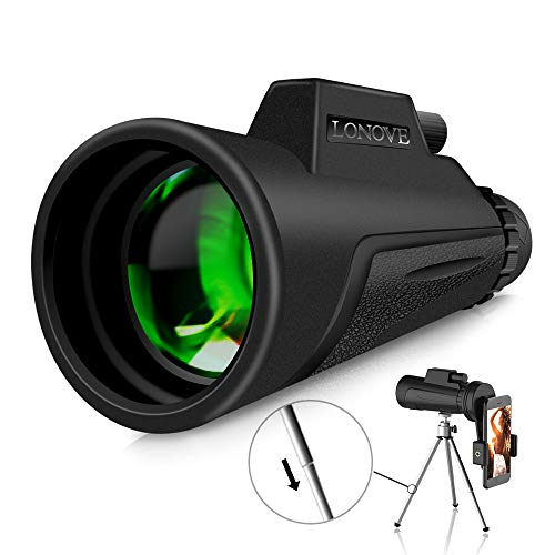 LONOVE Monocular Telescope Compact Monocular - 12x50 HD High Power Monocular with Smartphone Holder and Tripod, FMC PKA4 Prism Waterproof Monocular Scope for Bird Watching Hunting Hiking Camping
