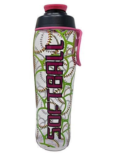 50 Strong 24 30 oz Sports Water Bottle w/Basketball, Football, Baseball, Softball, Soccer, Tennis & Hockey Designs - Perfect Bottles for Boys, Girls, Sport Team, Players, Coaches (Softball, 30 oz.) -