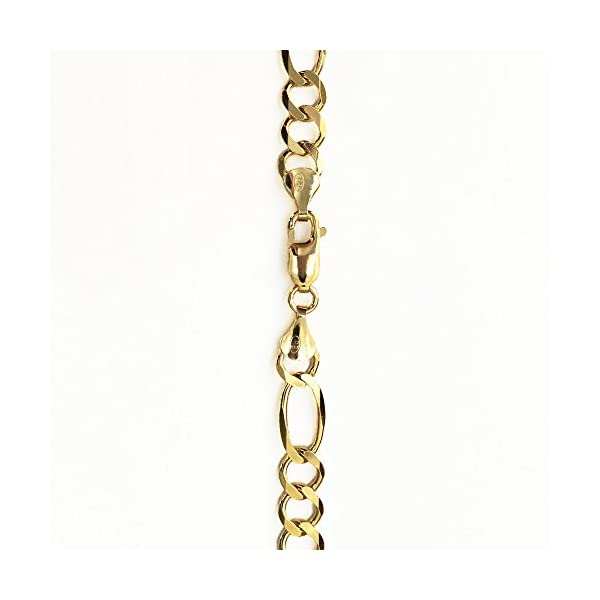 14K-Solid-Yellow-Gold-5mm-Figaro-Chain-18-20-22-24-26-28-30