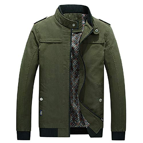 EnergyMen Coat Casual Thickening Army Stand Washed Collar Comfort up Green 66q01nR
