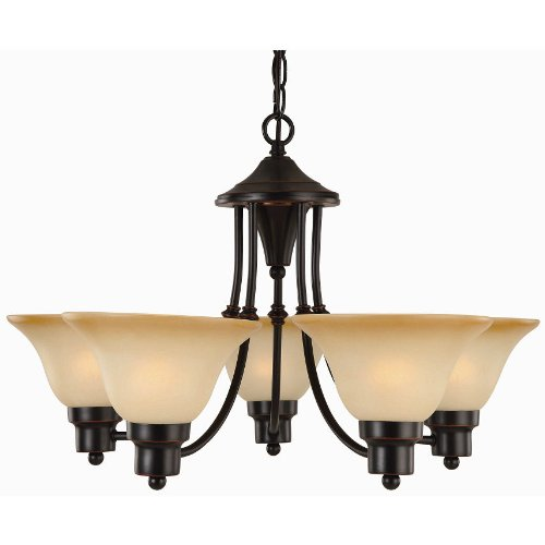 (Hardware House Bristol Series 5 Light Oil Rubbed Bronze 24 Inch by 15 Inch Chandelier Ceiling Lighting Fixture : 16-8885)