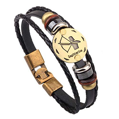 Jzone Punk Alloy Astrology Leather Bracelet for 12 Zodiac Signs Constellation Braided Rope Bracelet Bangle Multi-Layer for Women's Men's Gifts (Sagittarius) (Best Gift For Sagittarius Man)