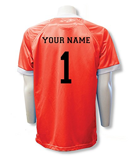 Short Sleeve Goalie Jersey Personalized with Your Name and Number (with free keeper pin) - size Adult XXL - color Orange ()