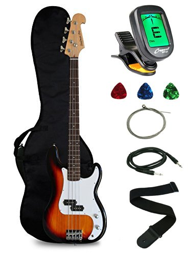Crescent Electric Bass Guitar Starter Kit – Sunburst Color (Includes CrescentTM Digital E-Tuner)
