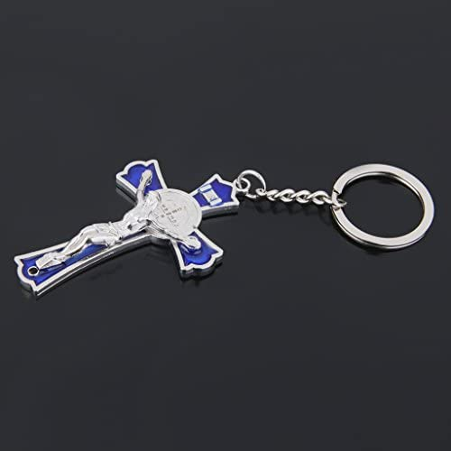 FLAMEER Bleu Crucifix J/ésus Keyring Sainte Porte-cl/és Cadeau Religieux Catholique Croix