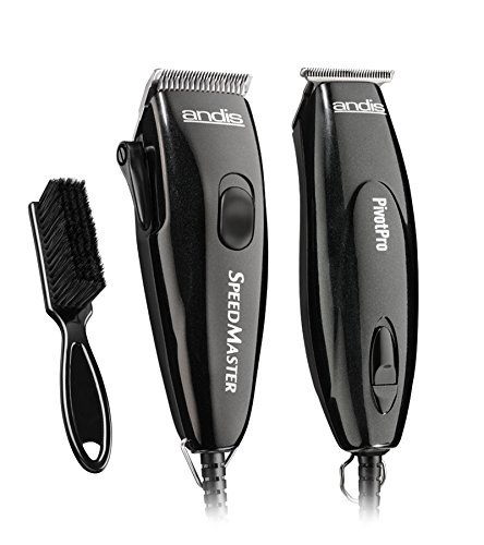 Andis Metallic Black Speed Master Clipper & Pivot Pro Powerful Trimmer 9 clipper attachment combs 4 trimmer attachment combs with BeauWis Blade Brush Included