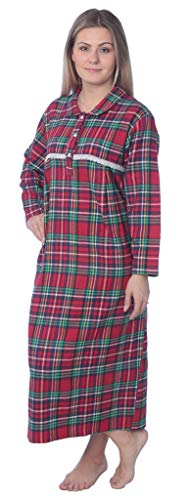 Beverly Rock N# Women's Full Length Brushed Cotton Flannel Plaid Nightgown WF02_Y19 Red/Green 2X ()