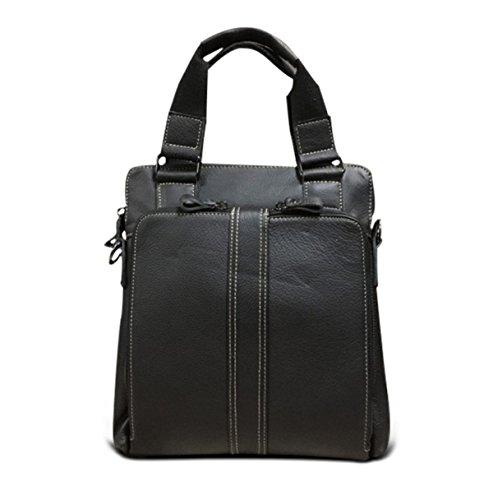 Hombres Moda Compuesto Esencial De La Calidad Del Cuero Del Negocio Bolsa Casual Bolso Cuadrado Negro Black