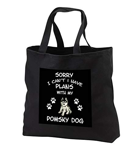 - Sven Herkenrath Dogs - Sorry I Cant i Have Plans with my Pomsky Dog - Tote Bags - Black Tote Bag JUMBO 20w x 15h x 5d (tb_306954_3)