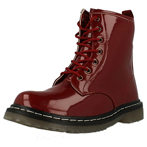Spot On Low Heel Lace Up Boot (Red, Size 4 UK)