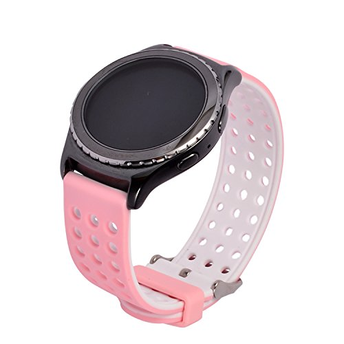 Lwsengme Silicone Quick Release - Choose Color & Width (18mm, 20mm,22mm) - Soft Rubber Replacement Watch Strap (22mm-Pink/White)