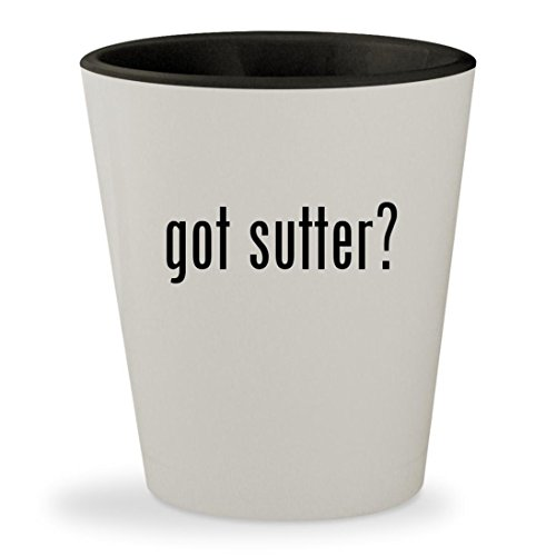 got sutter? - White Outer & Black Inner Ceramic 1.5oz Shot (Sutter Merlot)