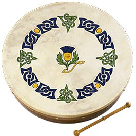 Bodhran (Irish Drum) 12'' SMALL - Scottish Thistle Design