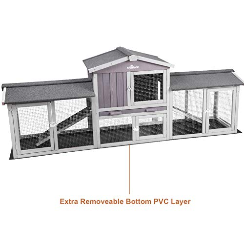 Aivituvin Extra Large Chicken Coop, Rabbit House Wooden Hen House Outdoor Bunny Hutch - Upgrade with Bottom PVC Layer