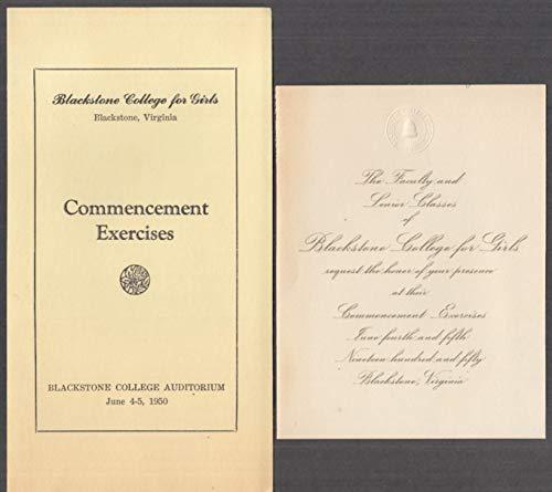 Blackstone College for Girls Commencement Exercises Program 1950 VA