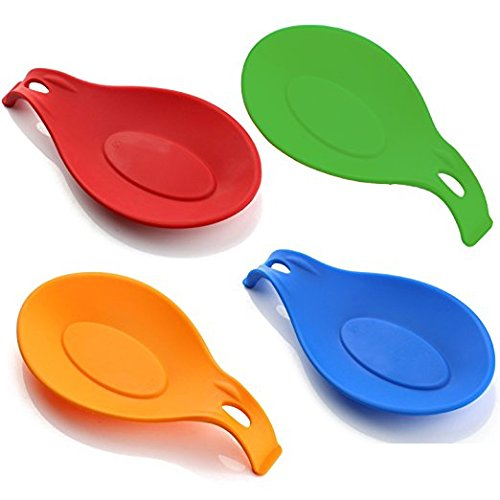 - iNeibo Kitchen Silicone Spoon Rest, Flexible Almond-Shaped, Silicone Kitchen Utensil Rest Ladle Spoon Holder Set of 4, (Colorful,Big Size)