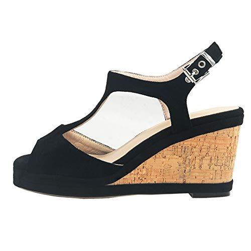 - MERUMOTE Women's Middle Wedge Heels Platform Summer Shoes with Buckle 8cm-Black 6 US