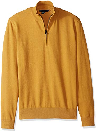 French Connection Men's Long Sleeve Stretch Cotton Sweater, Honey Zip, L
