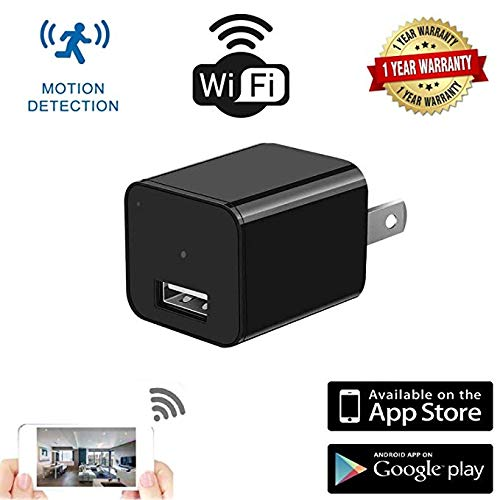 WiFi Charger Hidden Spy Camera Motion Detection HD USB Charger Camera 1080P Indoor Wall Charger Mini Cam Remote App Control Nanny Camera for Home Kids Baby Pet Monitoring Support iOS/Android
