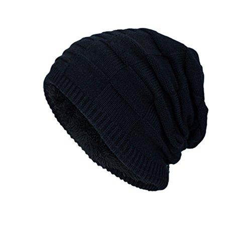 Sombreros Tartán de Adulto Sólido Invierno Punto Color Negro Gorro Hombre Casual Diseño para YiJee wIA1HH