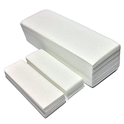 New Begin Salon Quality Non-Woven Wax Strips - Facial and Full Body Sizes Available, 200 Wax Strips (100 Small,100 - Non Woven Waxing