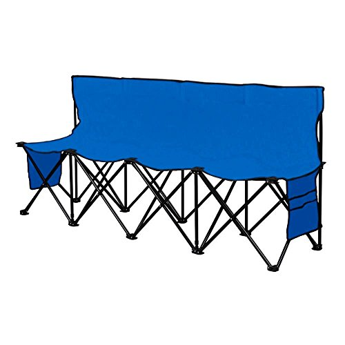 Yaheetech 4 Seats Portable Folding Bench For Camping Bench Chairs with Backrest Blue