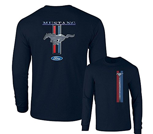 Ford Mustang Pony Racing Stripe 5.0 Muscle Shelby Long Sleeve T-Shirt Front Back Print-Navy-Small