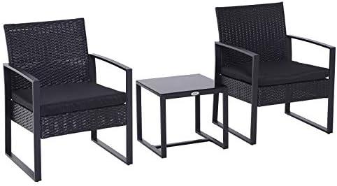 Outsunny Conjunto de Jardín Exterior Negro Conjunto de Muebles de Jardín de Ratán 3 Piezas 1 Mesita 2 Sillones para Exterior y Aire Libre Desmontable Color Negro: Amazon.es: Jardín