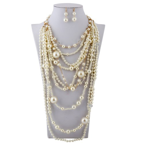 Lanue Fashion Multilayer Strand Simulated Pearl Statement Necklace and Earrings Set Women Long Sweater Chain Choker Necklace (Gold, Style 2) (Strand Choker Set)
