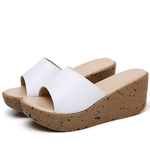 Gold Cloud Women 6019 Leather Vamp Platform Platform Platform Sandals Comfort Open Toe Shoes (4.5, White) B07DG3SNT5 Shoes 344654