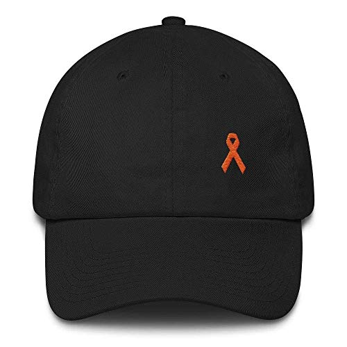 MS Awareness Hat - Adjustable Cotton Baseball Cap with an Orange Ribbon (Multiple Colors)]()