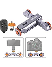 Neewer 3-Wheels Wirelesss Camera Video Auto Dolly, Motorized Electric Track Rail Slider Dolly Car with Remote, 3 Speed Adjustable for DSLR Camera Camcorder GoPro iPhone Android Phones (Silver)