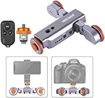 Neewer 3-Wheels Wirelesss Camera Video Auto Dolly, Motorized Electric Track Rail Slider Dolly Car with Remote, 3 Speed...