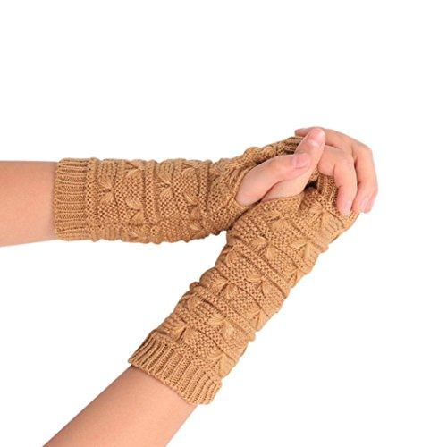 ファッションニットアーム指なし冬手袋ユニセックスソフト暖かいミトン