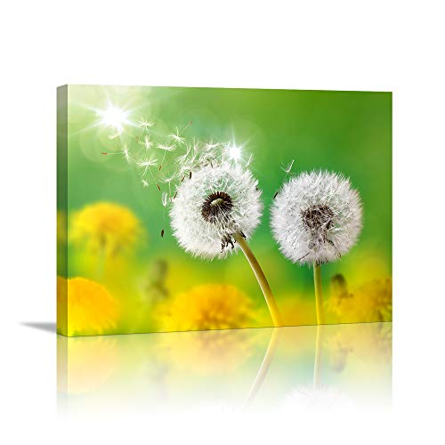 Wall Art for living room Canvas Prints Artwork bathroom Wall Decor light from sun Simple Life Green dandelion Picture Watercolor painting Framed bedroom wall decorations Office Works Home - Bathroom Print Art
