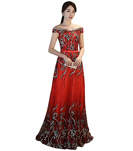 Evening Embroidery Party Drasawee Red Women's Long Sequins Gowns Dress Slim Prom Ct8tqrw