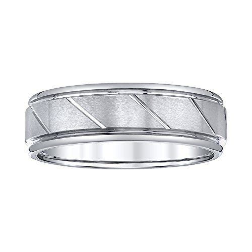 AX Jewelry Mens 7mm White Tungsten Wedding Band by AX Jewelry (Image #1)