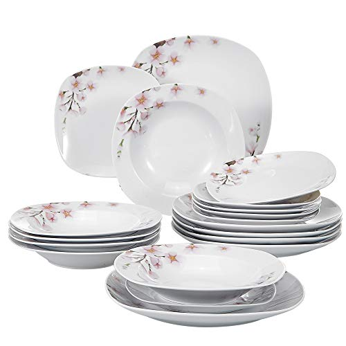 VEWEET 18-Piece Porcelain Stoneware Dinnerware Set Service for 6 Ivory White Floral Pattern Dinner Plate, Salad Dish Sets (Annie Series)