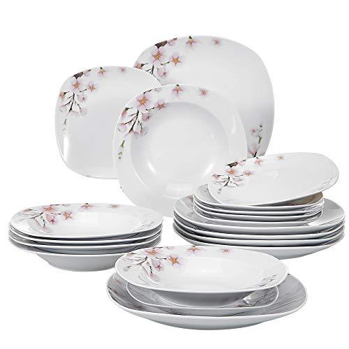 VEWEET 18-Piece Porcelain Stoneware Dinnerware Set Service for 6 Ivory White Floral Pattern Dinner Plate, Salad Dish Sets (Annie Series) (Floral Dinnerware Set)
